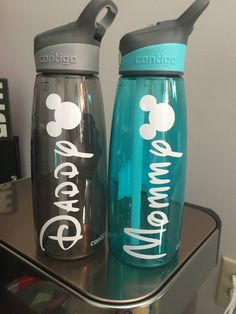 Disney water bottles by FairestMeganOfAll on Etsy Disneyland Trip, Disney Vacations, Disney Trips, Water Bottles, Voss Bottle, Disney Water Bottle, Disney Wishes, Disney Printables, Disney Springs