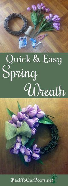 DIY Quick & Easy Spring Tulip Wreath