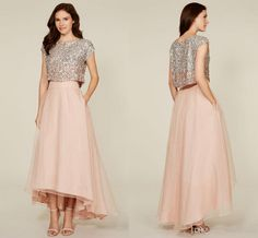 Fashione Two Pieces Bridesmaid Dresses Sequins Tank Tulle Skirts A Line High Low Bridesmaid Dresses Cap Sleeve Formal Party Gowns La Short Sleeve Bridesmaid Dresses Silk Bridesmaid Dresses From Alexiabridal, $124.61| Dhgate.Com