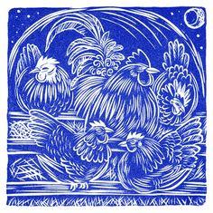 Celia Hart ~ With His Hens: Good Night! ~ Linocut, 15 x 15 cm