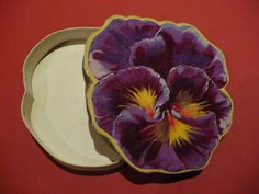 Antique Early 1900's Pansy 2 Piece Candy Box Marked MADE IN FRANCE Very Good Con