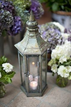 Lantern and flowers....