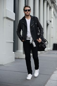 Topman leather jacket | Club Monaco cashmere sweater | AG jeans | Aldo sneakers | Details at http://iamgalla.com/2015/03/mulberry-in-motion/