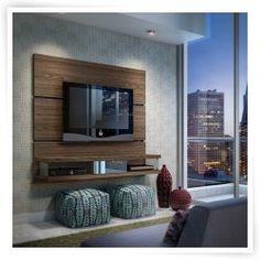 Manhattan Comfort Ellington TV Panel by Manhattan Comfort Living Room Tv, Living Room Furniture, Tv Wall Mount Installation, Tv Wall Panel, Wall Tv, Tv Wall Decor, Wood Wall, Tv Wall Cabinets, Entertainment Wall