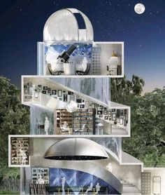 The three-level dome-structured observatory features a home cinema, a planetarium, a karaoke bar, a library and a lounge to enjoy cigars with the observatory roof and glazed roof open. Planetarium Architecture, Space Architecture, Cbx 250, Home Cinema Projector, Astronomical Observatory, Roubaix, Dome House, Home Cinemas, Home Theater