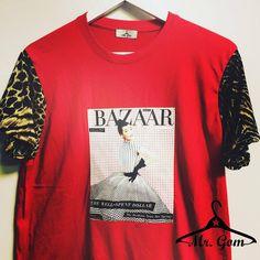 #t-shirt roja con mangas de leopardo y diseño personalizado