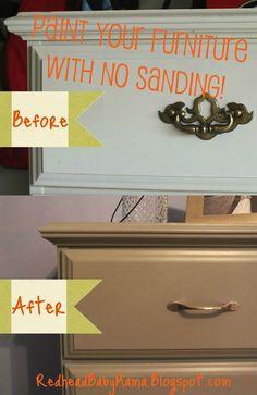 Redhead Baby Mama | Atlanta Mom Blogger: Pinterest Challenge: DIY Painting Furniture with no sanding