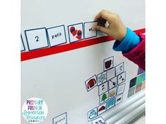 A French sentence creation station! Put magnets on the back of the cards and create a space on your whiteboard for students to build sentences! Great for primary French immersion students! Spanish Teaching Resources, French Resources, Teaching Materials, Teaching Ideas, French Classroom, English Classroom, Primary Classroom, Learning Stations, Fle