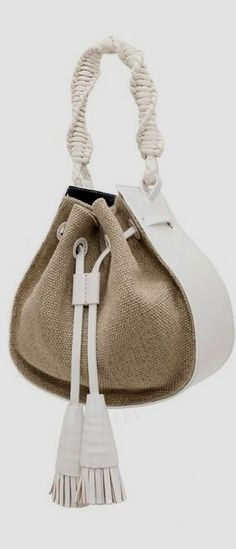 Tory Burch Resort 2015 handbag with cord string Fall Handbags, Purses And Handbags, Leather Handbags, Leather Bag, Fabric Bags, Beautiful Bags, Handmade Bags, My Bags, Wallets For Women