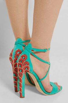a7fcbc73166ac Brian Atwood - Sonya embellished suede sandals from NET-A-PORTER Andando  Nas Nuvens
