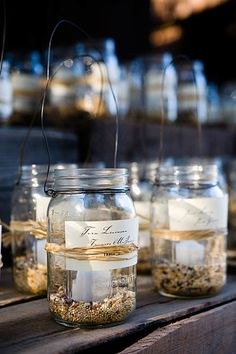 bird seed, candle holder, mason jars