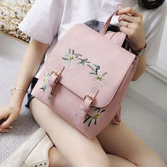Backpacks Women Leather Small Floral Print Preppy Style Travel Exo School For Teen Light Bolsa Feminina Bag Chills And Pains Men's Bags