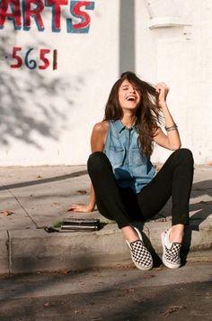 Le Fashion Blog -- 15 Ways To Wear Checkered Van Slip On Sneakers -- Sleeveless Denim Shirt -- photo 6-Le-Fashion-Blog-15-Ways-To-Wear-Check...