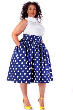 I think this is beautiful, but I don't think I could pull it off. JIBRI Plus Size High Waist Flare Skirt (Navy Polka Dot)