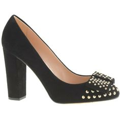 J.Crew Pre-order Etta suede studded pumps by None, via Polyvore
