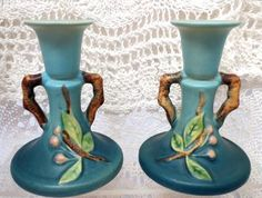 "Beautiful Mid-20th Century Roseville Apple Blossom Candlesticks, #352-4 1/2"", in Blue - $138.00 USD"