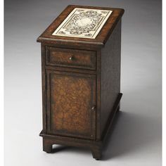 Butler Corsica Etched Fossil Stone Chairside Chest - Heritage - 3326070