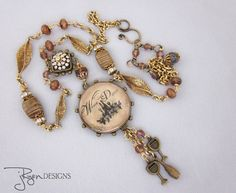 Mixed Media, Handmade Assemblage Jewelry, Wine Theme Necklace.  One of a Kind Jewelry designs by JryenDesigns.