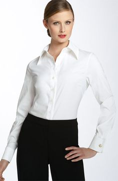 St. John Collection <3 White Shirt Outfits, White Shirts, Love Couture, Blouse Designs, Poplin, Wardrobe Basics, Mistress, Nordstrom, Blouses