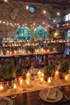 36 Beautiful Ways To Use Candles At Your Wedding ❤️ wedding ideas with candles reception with candles and greenery on tables borgo corsignano via instagram ❤️ See more: http://www.weddingforward.com/wedding-ideas-with-candles/ #weddingforward #wedding #bride #decoration #bridaldecorations #weddingideaswithcandles