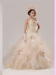 Ball Strapless Flowers Tulle Wedding Dress