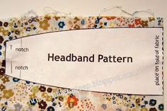 How to make a fabric headband. This pattern is for an adult but could shrink the pattern a bit for children. I'm thinking if doing this and adding a bow or flower(s). Maybe make the bow or flower(s) removable so the headband has two separate usable sides. Sewing Headbands, Fabric Headbands, Hippie Headbands, Flower Headbands, Sewing Hacks, Sewing Tutorials, Sewing Patterns, Headband Pattern, Diy Headband
