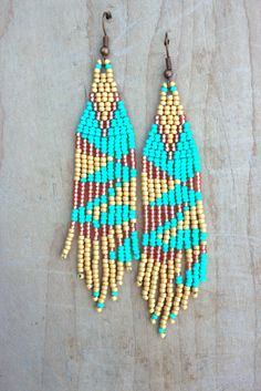 Native American Inspired Earrings,Seed Bead Woven Native Indian Style Tribal Glass Beaded Southwest Turquoise Crush Bohemian BOHO Jewelry by NativeStyles on Etsy
