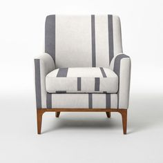 Sloan Upholstered Chair - Prints | west elm.  i usually don't like stripes that don't line up, but this could be nice.