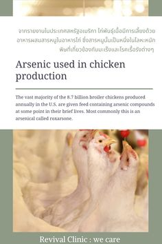 The vast majority of the 8.7 billion broiler chickens produced annually in the U.S. are given feed containing arsenic compounds at some point in their brief lives. Most commonly this is an arsenical called roxarsone. Broiler Chicken, Clinic, This Is Us, Nutrition, Life