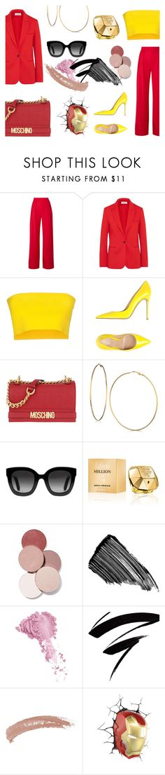 """""""Tony Stark/Iron Man"""" by bfdotto ❤ liked on Polyvore featuring Michael Lo Sordo, Cefinn, Liviana Conti, Gianvito Rossi, Moschino, GUESS, Gucci, Paco Rabanne, LunatiCK Cosmetic Labs and Sisley"""