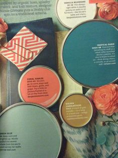 Paint color ideas: coral, sea glass, white