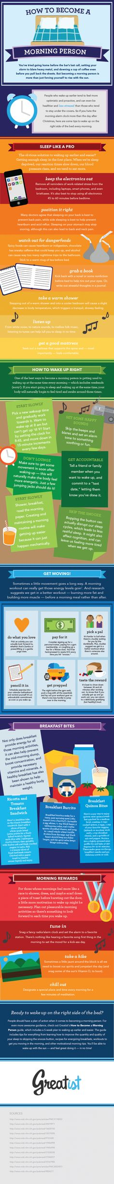 Are you a morning person? If not, here is an #infographic about becoming a morning person. #health #sleep