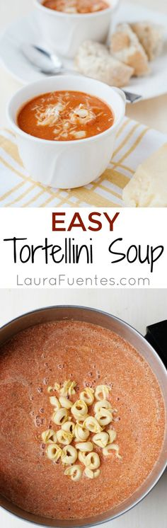 Tomato Tortellini Soup: Delicious and easy, plus soup can be a whole meal in a bowl, so it makes it super easy when feeding a large family.