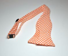 Freestyle Bowtie for Men Orange Gingham LOTS of COLORS AVAILABLE. $25.95, via Etsy.