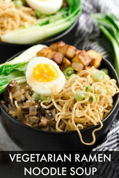 10 Vegetarian Ramen Noodle Recipes - Vegetarian ramen is healthy and makes a nutritious snack. From classic vegetable ramen, to mushroom - Ramen Noodle Soup, Ramen Noodle Recipes, Ramen Noodles, Vegetarian Ramen, Vegetarian Recipes, Healthy Recipes, Healthy Ramen, Healthy Soups, Healthy Food