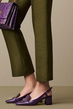 Bally purple leather modish block heels