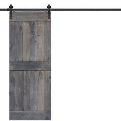 BarnWood Mid Rail Plank Wood 2 Panel Interior Barn Door