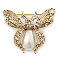 Antique Jewelry Vintage Inspired Crystal- Simulated Pearl 'Bumble Bee' Brooch In Antique Gold Tone - Across - SKU: Gift-wrap: Available Bee Jewelry, Insect Jewelry, Gold Jewelry, Jewelery, Quartz Jewelry, Indian Jewelry, Antique Gold, Antique Jewelry, Vintage Jewelry