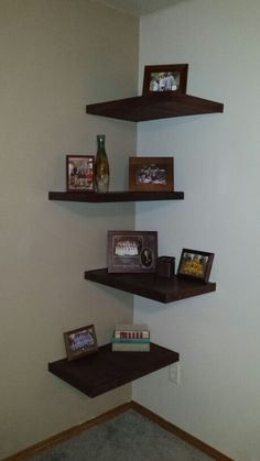 Our new floating corner shelves, courtesy of my talented hubby!