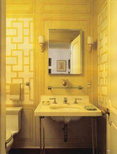 Clare & Tony White's Manhattan Pied-a-terre - Guest bath. World of Interior Nov 2013. Previously Melon White Townhouse