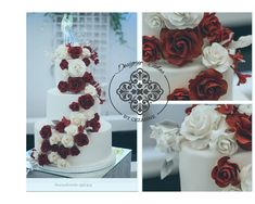 White and burgundy wedding cake Burgundy Wedding Cake, How To Make Cake, Cake Designs, Wedding Cakes, Desserts, Cake Templates, Wedding Gown Cakes, Wedding Pie Table, Deserts