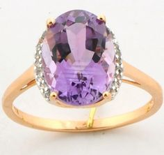 Amethyst 5.80 Ct. White Topaz Ring In Rose Gold Plated Jewelry