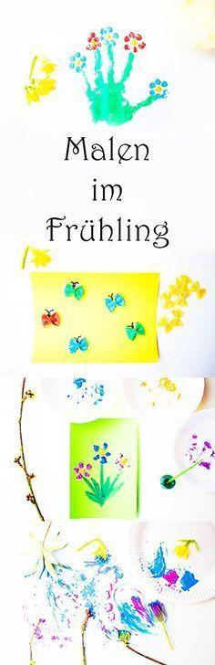 Malen im Frühling mit Kindern und Kleinkindern im Kindergarten. Blumen, Tulpen, Schmetterling, Frühlingsbaum, Tulpen, Handabdruck...