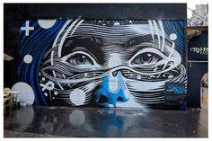 By  Dourone & Elodieloll #mur #oberkampf #paris #streetart #mural #lineart