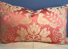 SCALAMANDRE Love Bird Melon & Bronze Damask 100% Silk Lumbar pillow by LydiaBella on Etsy