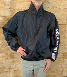Vtg 90s Polo Sport Ralph Lauren Nylon Windbreaker Jacket Spellout Flag Half Zip #PoloSport #Windbreaker