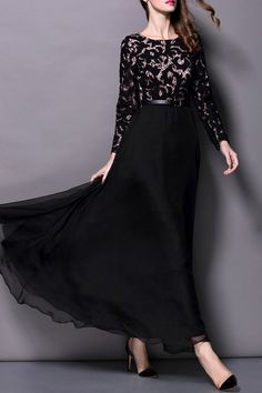 Solid Color Openwork Lace Hook Spliced Maxi Dress