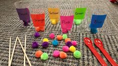 Pom Pom Drop: Promotes pincer grasp/fine motor, as well as color differentiation Purple Yellow, Green And Orange, Triangle, Differentiation, Fine Motor, Projects, Kids, Crafts, Drop