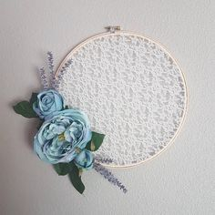 Blue Peony Floral Lace Embroidery Hoop Wreath, Hoop Wreath for Front Door, Hoop Wreath With Flowers, Wreath for Front Door, Wall Decor by KRICreationsHandmade on Etsy Embroidery Hoop Crafts, Embroidery Hoop Art, Lace Flowers, Floral Lace, Beautiful Flowers, Blue Peonies, Tambour, Cute Crafts, Diy Crafts