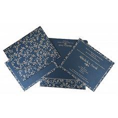 Blue Shimmery Screen Printed Wedding Invitation : AI-804D Shop @ https://www.a2zweddingcards.com/card-detail/I-804D #weddinginvitations #weddinginvites #invitations #cards #weddinginspiration #weddingplanning #weddingplanner #weddings #muslimwedding